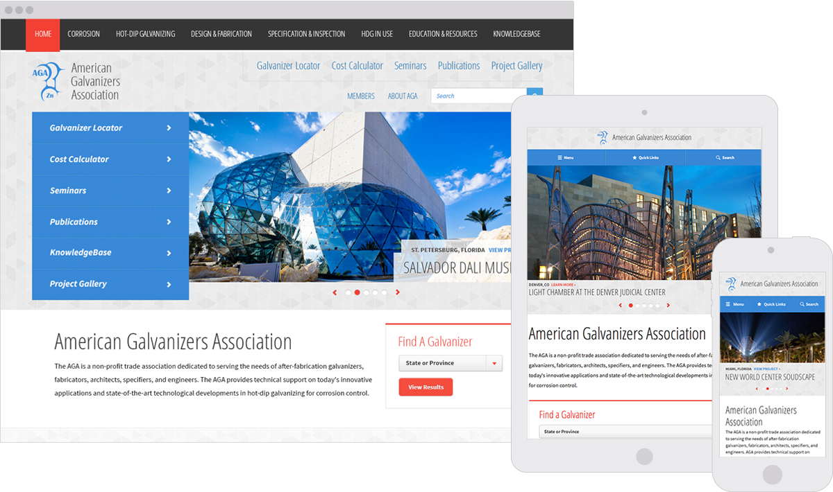 American Galvanizers Association Responsive ExpressionEngine Website Design