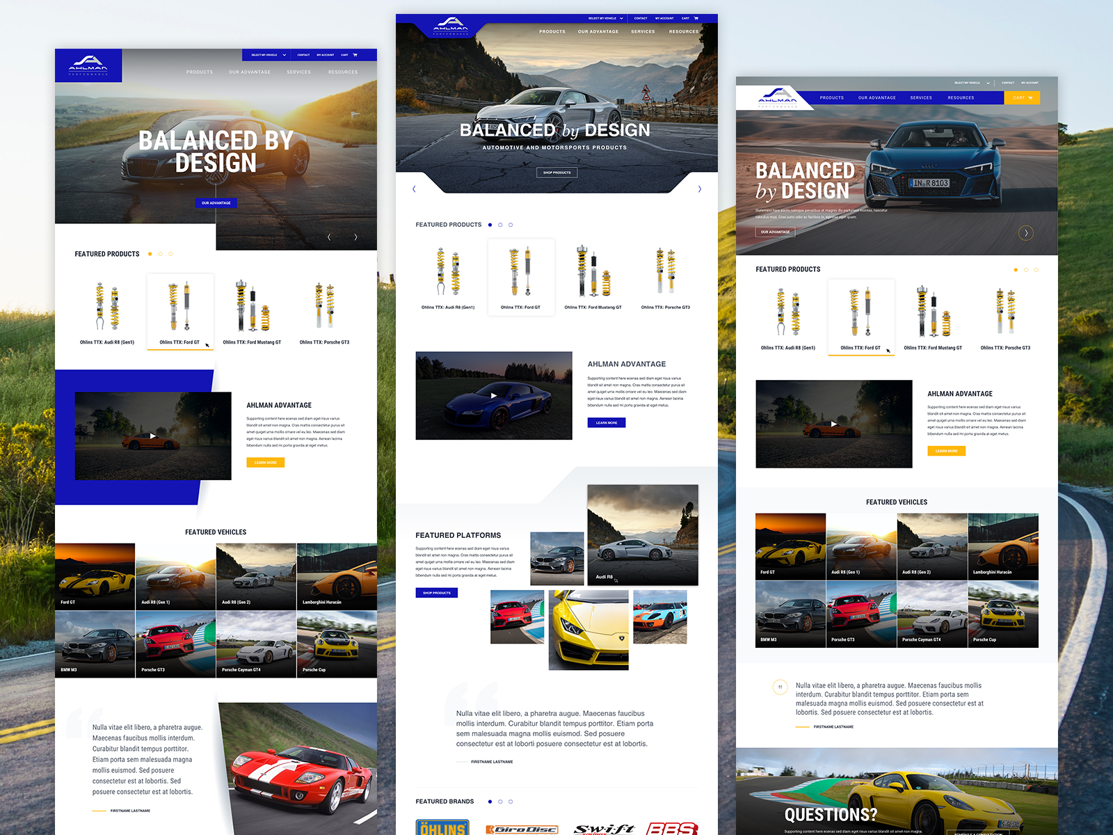 Ahlman Performance User Interface Design concepts