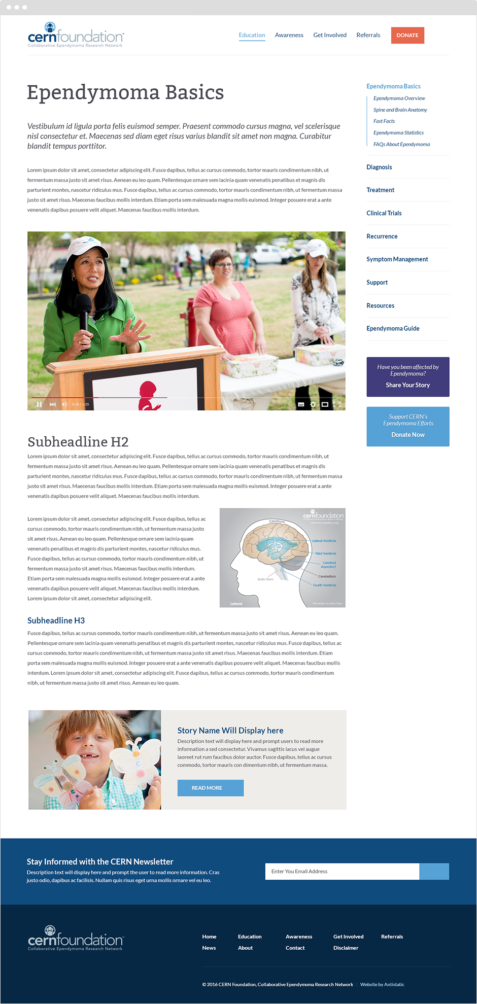 CERN Cancer Research Foundation Responsive ExpressionEngine Website User Interface Design