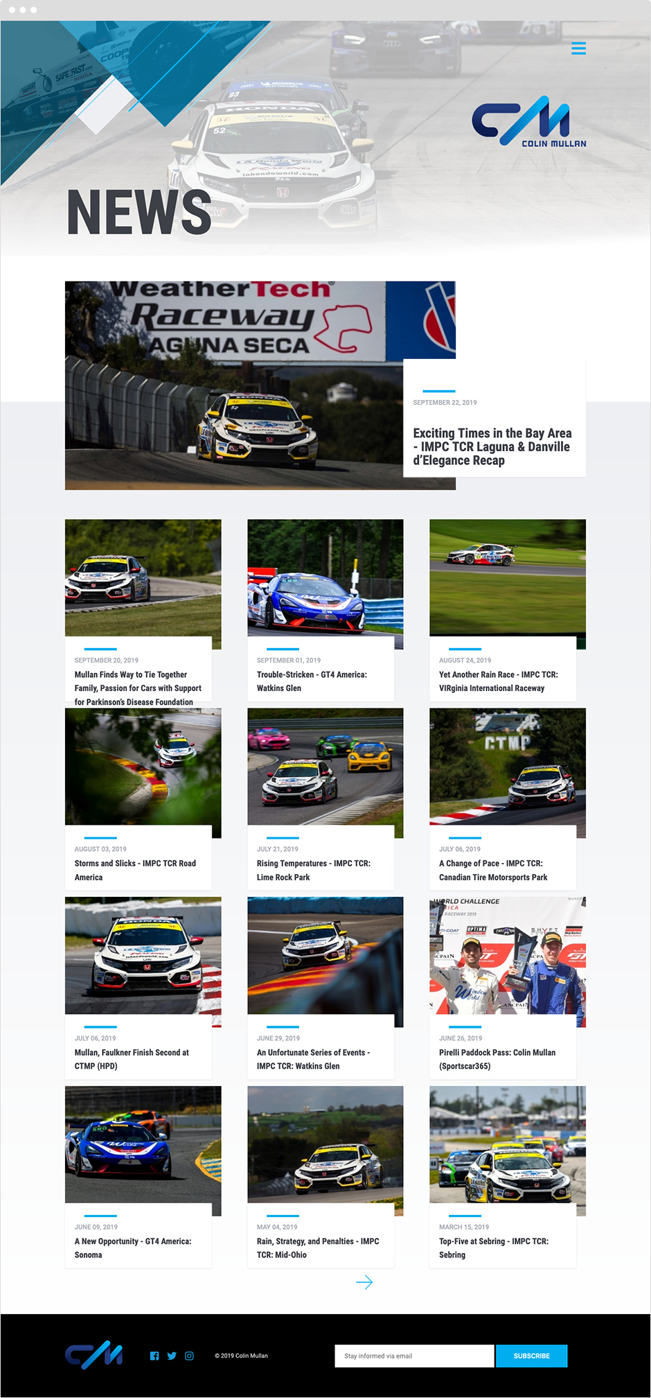 Colin Mullan Racing Brand and Website Design