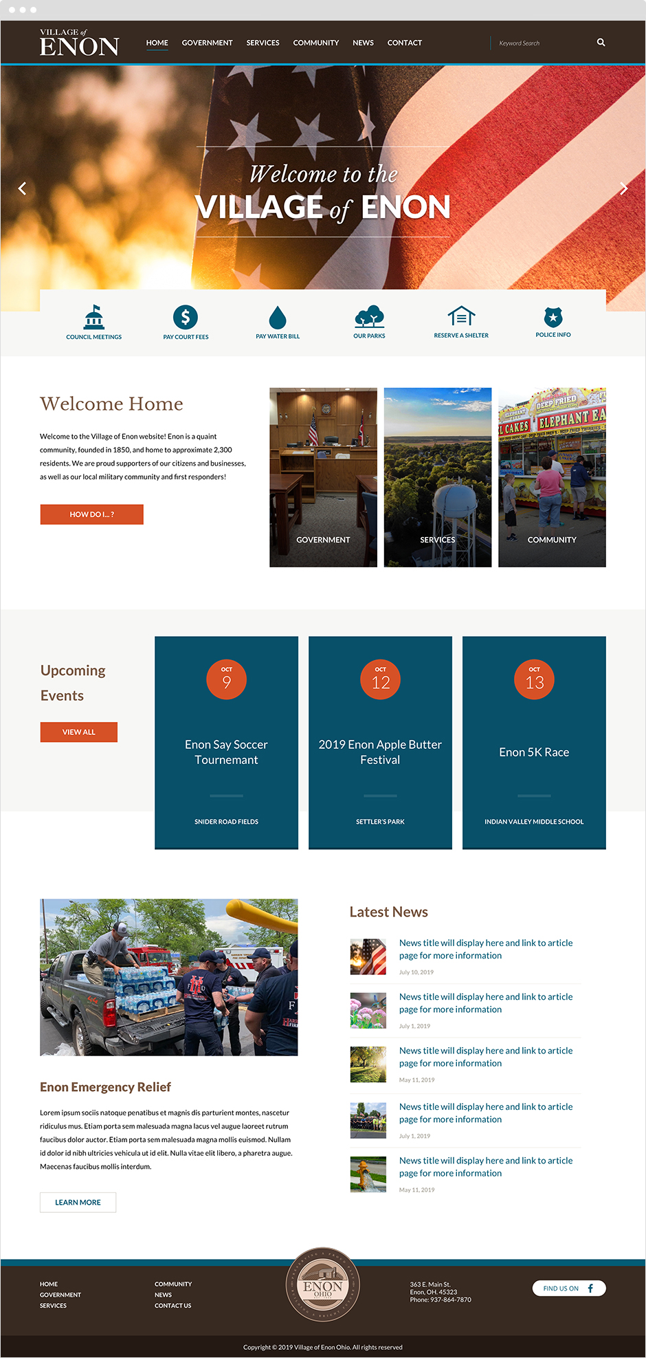 Village of Enon, Ohio Government Website Design