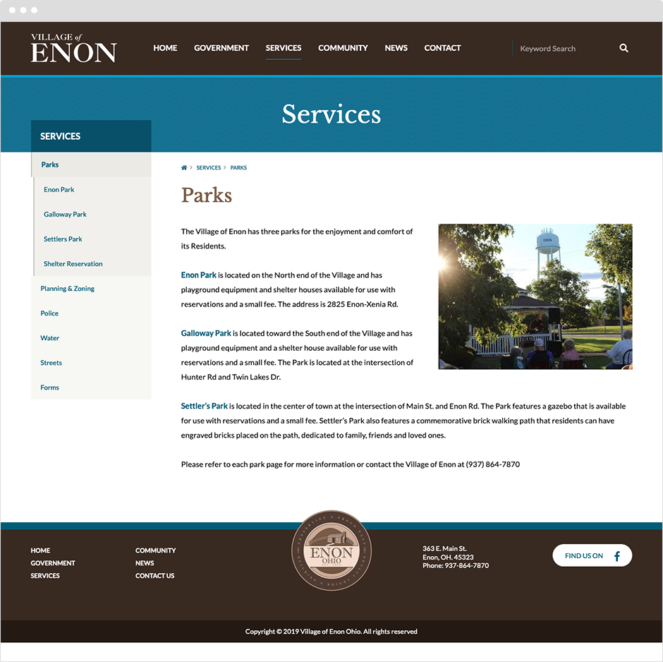 Village of Enon Website Design