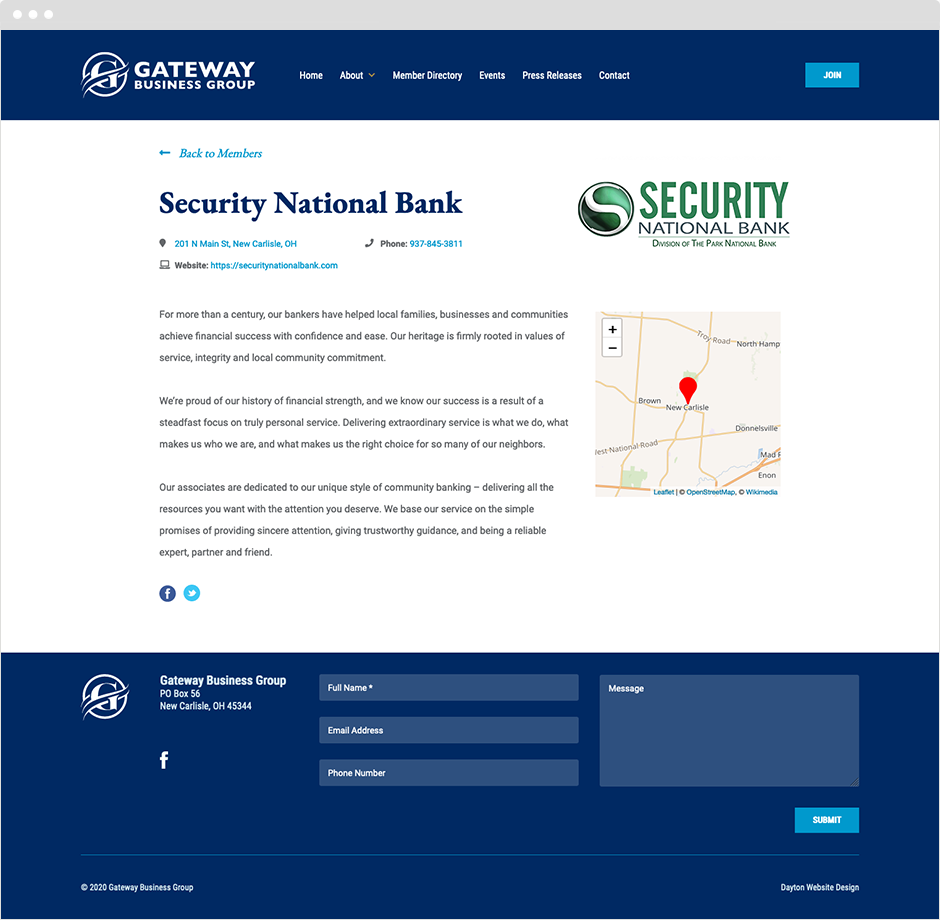 Gateway Business Group Member Profile Page Design