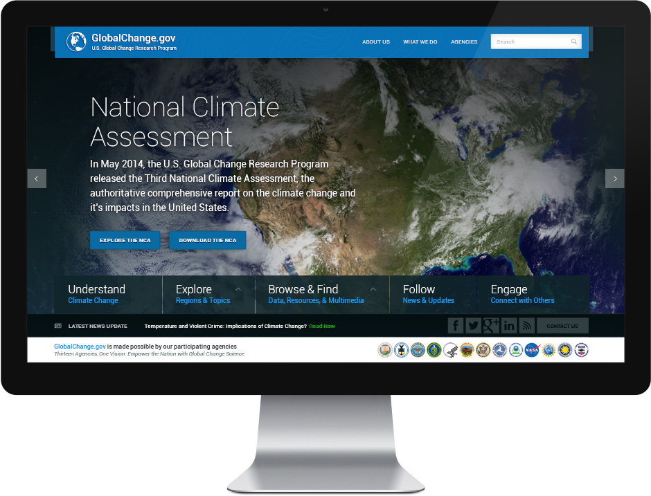 GlobalChange dot gov The National Climate Assessment Website Design