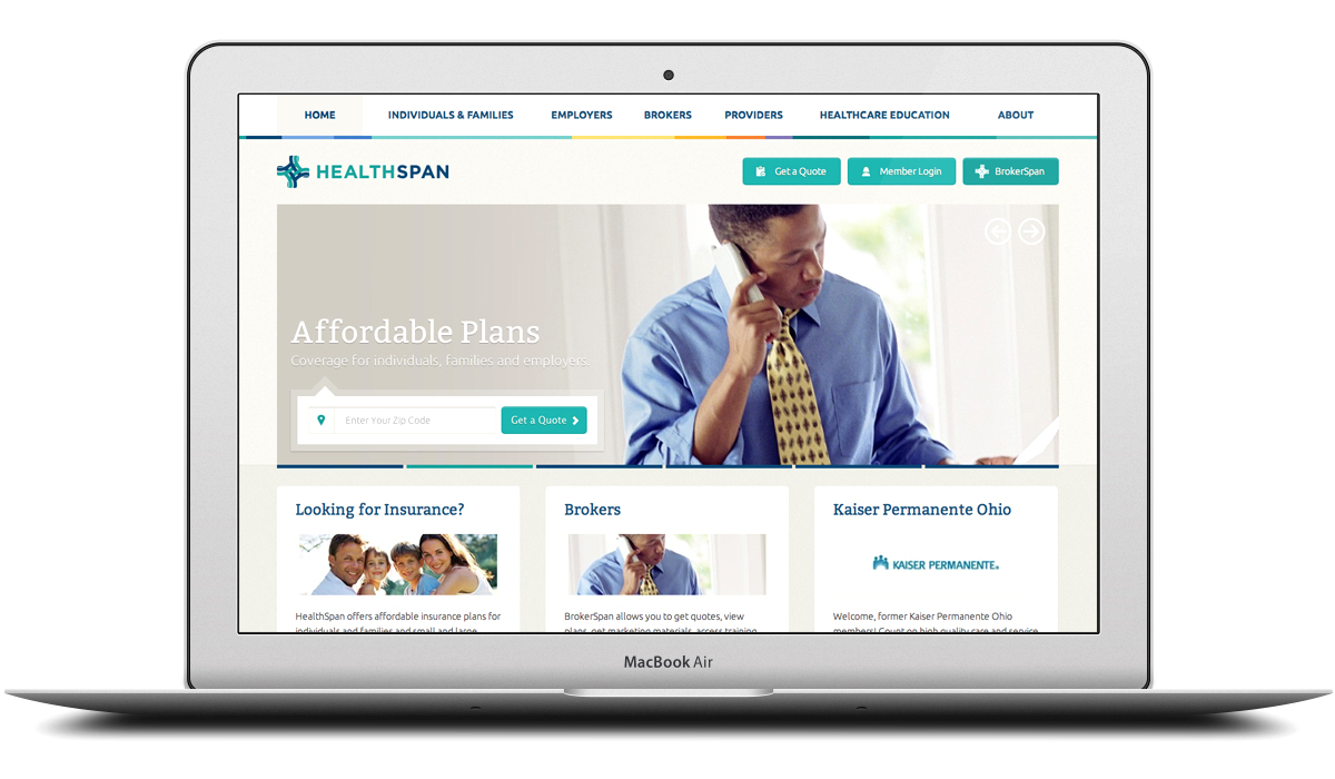 HealthSpan Insurance Responsive Website Design and ExpressionEngine Development