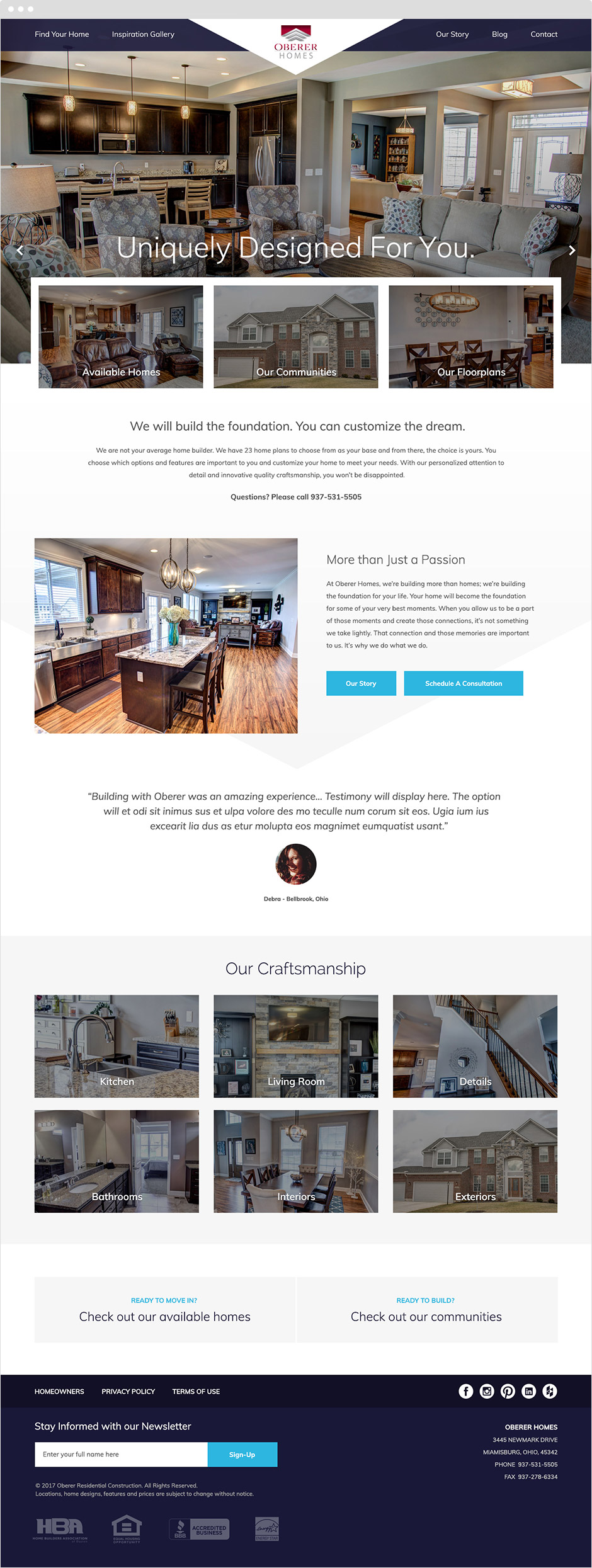 Oberer Homes Responsive Website Design
