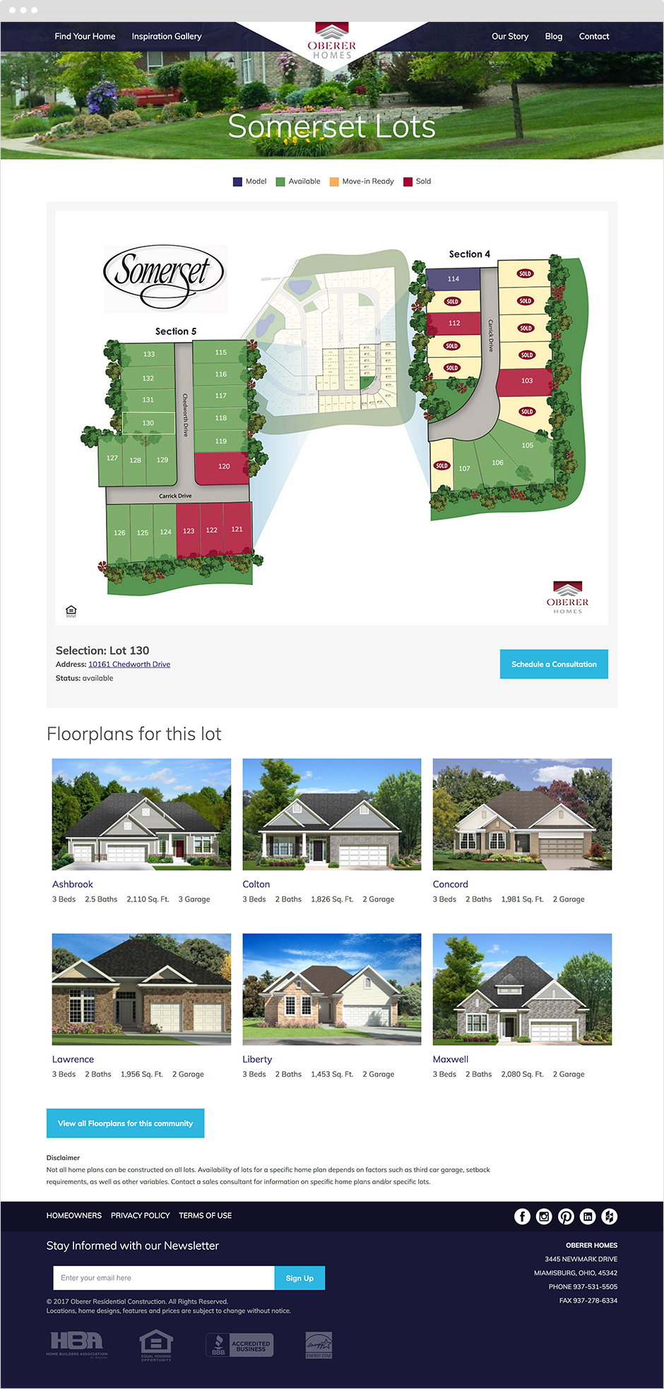 Community Available Lot Home Selection Tool