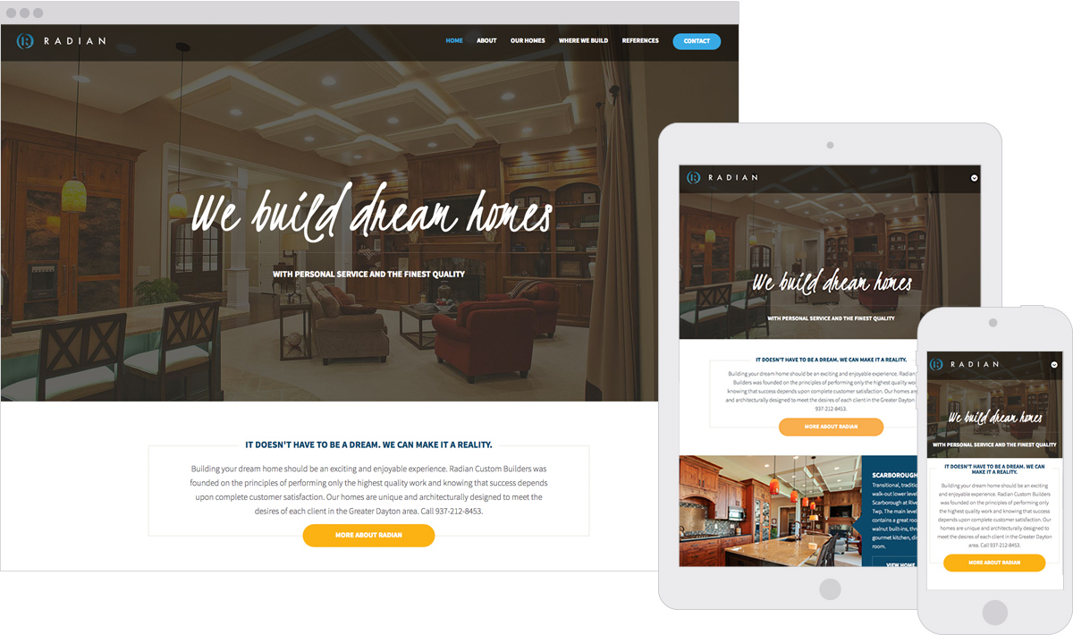 Radian Custom Home Builders Responsive ExpressionEngine Website Design