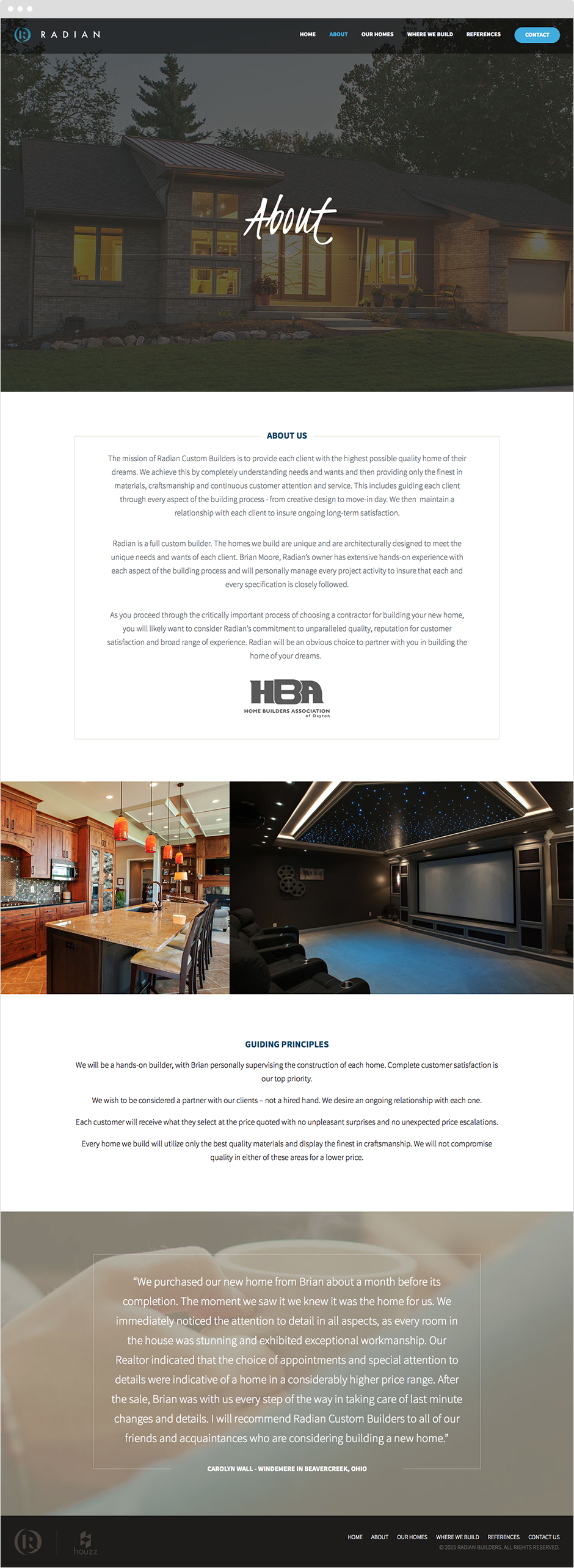 Radian Custom Home Builders Responsive Web Design