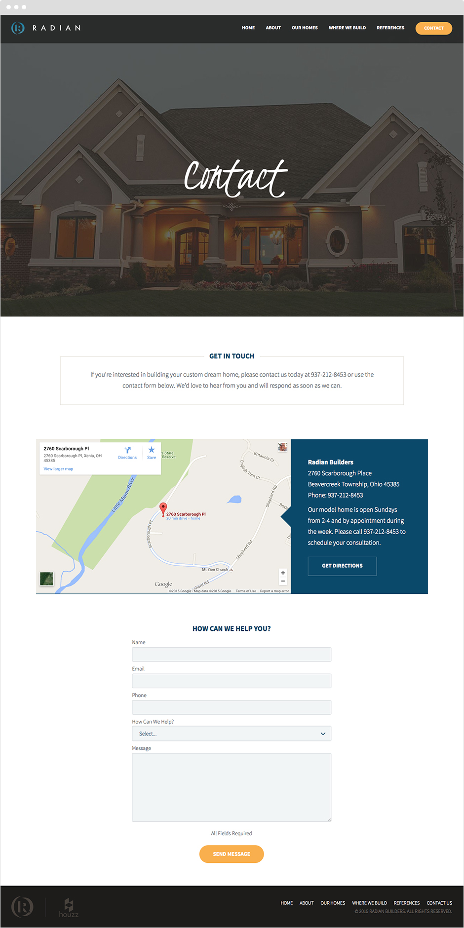 Custom website design and development for Radian Home Builders on EECMS