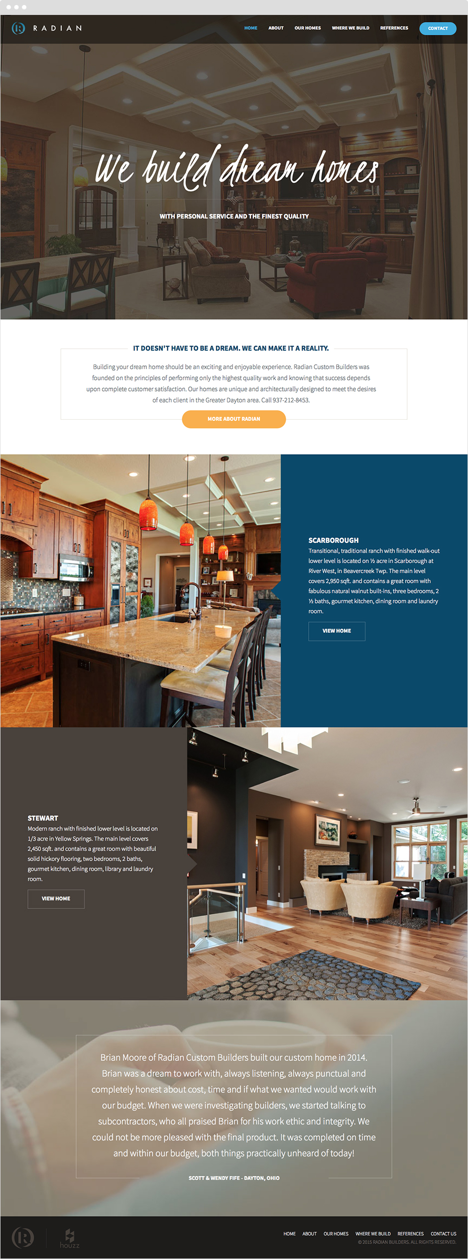 Radian Custom Home Builders Responsive ExpressionEngine Website Design