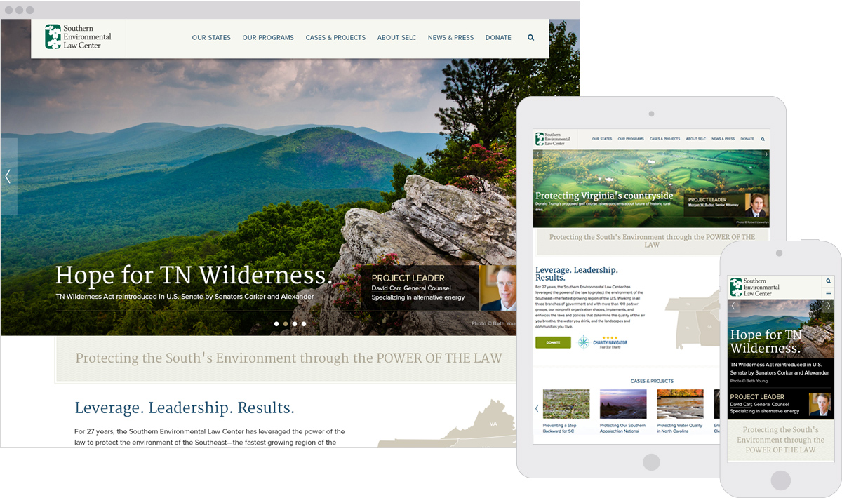 Southern Environmental Law Center Responsive Website Design