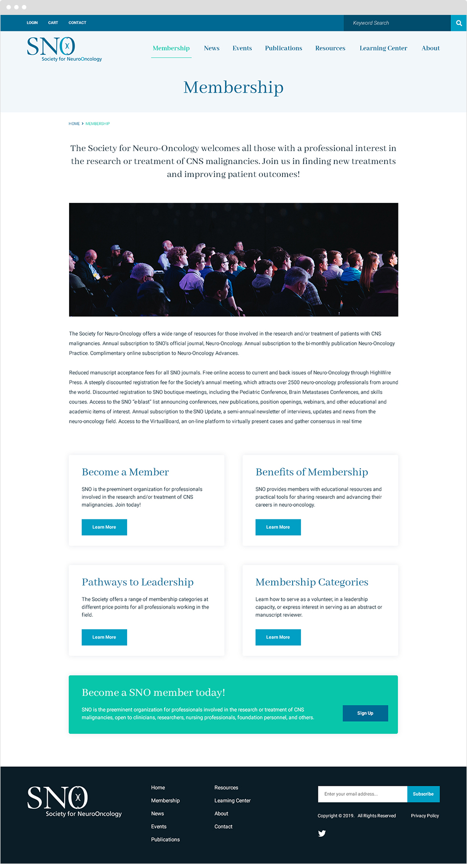 Landing Page Design for Society for Neuro-Oncology