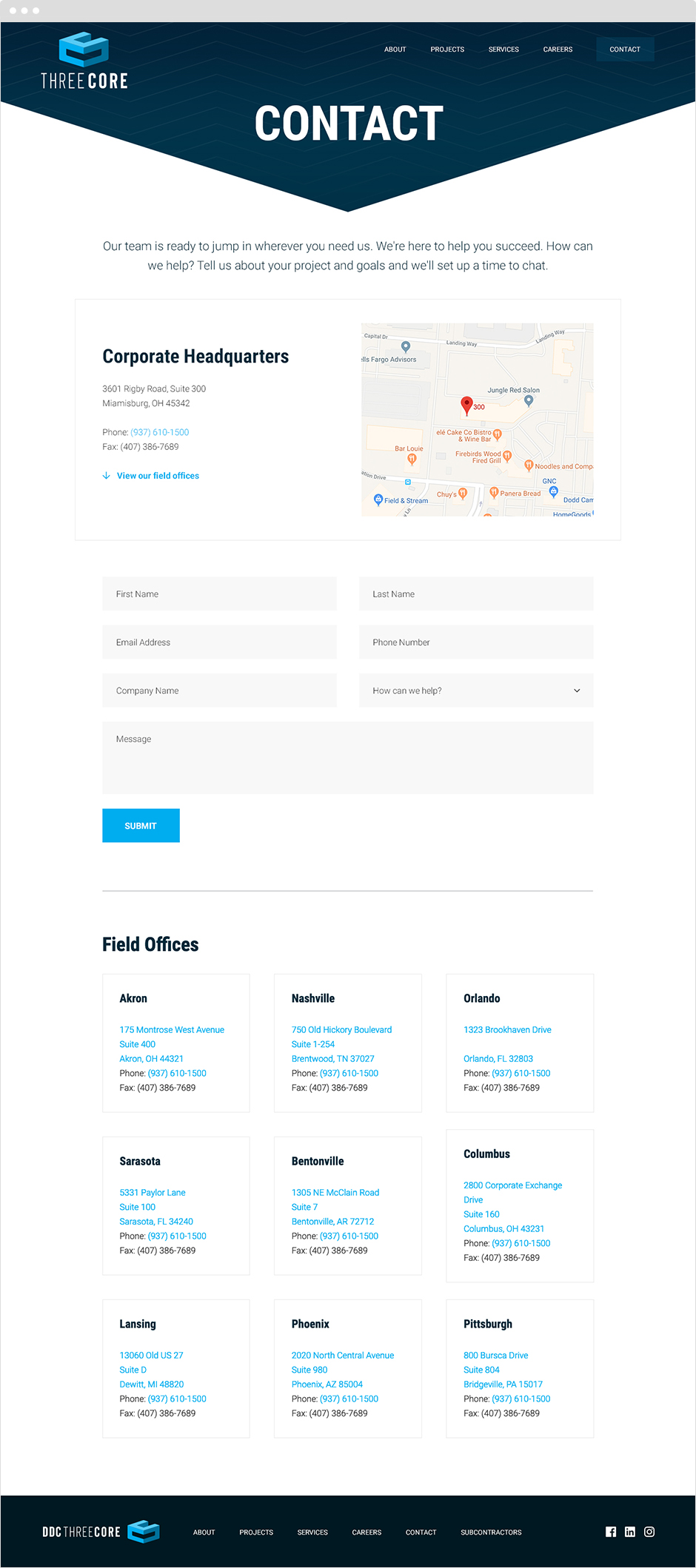 Threecore Contact Page Design