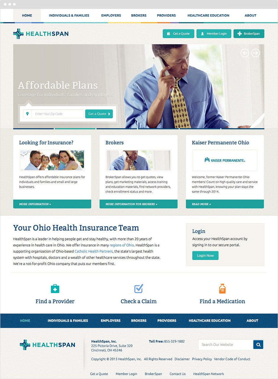 HealthSpan Insurance Responsive Website Design and Development