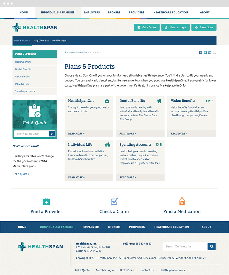 HealthSpan Insurance Website Design and ExpressionEngine Development