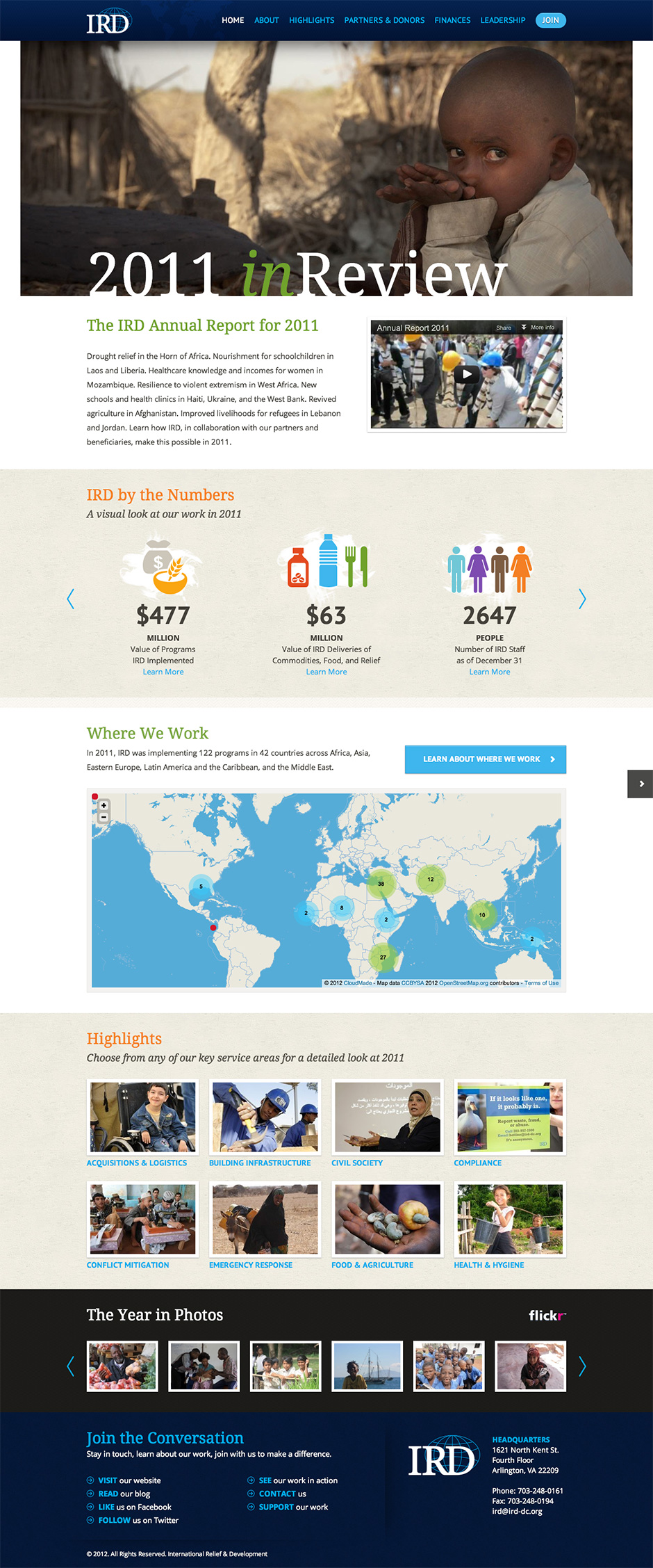 International Relief and Development annual report website