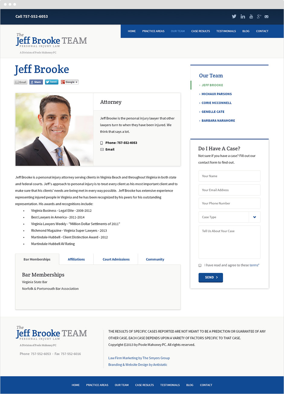 Jeff Brooke Team Homepage Design
