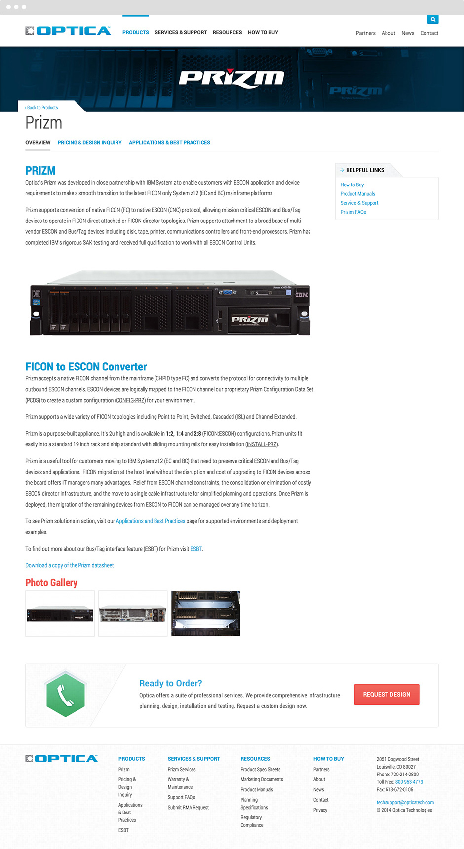 Optica Technologies Prizm Product Detail Page