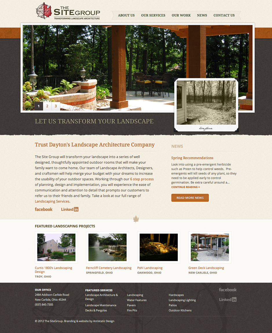 The Site Group landscape architecture Website Design and Development