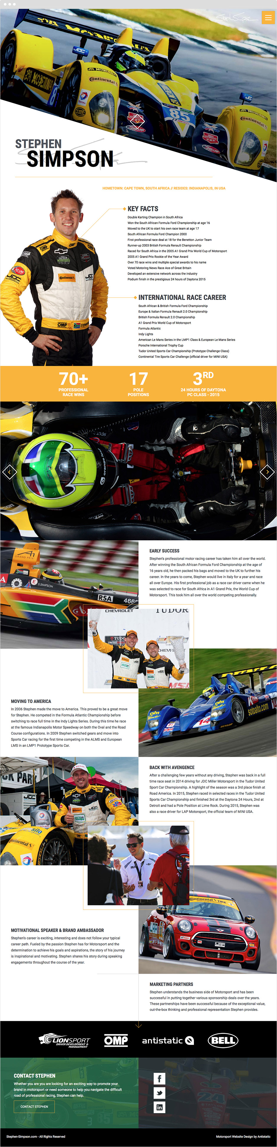 Responsive ExpressionEngine Web Design for Racing Driver Stephen Simpson