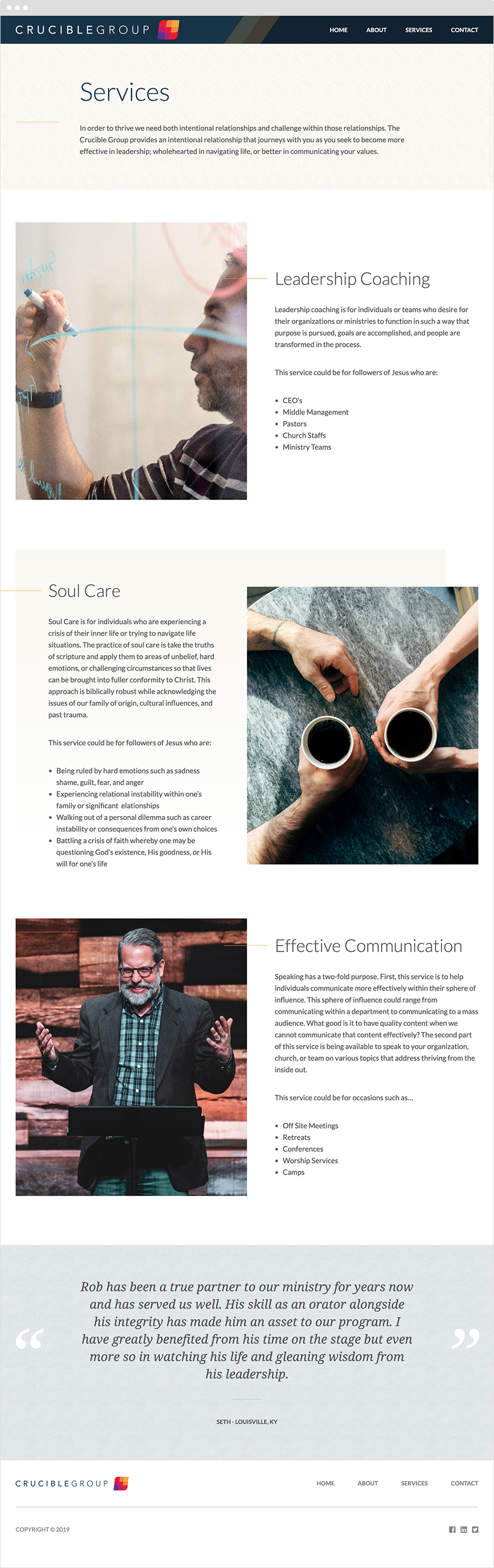 The Crucible Group Services Page Design