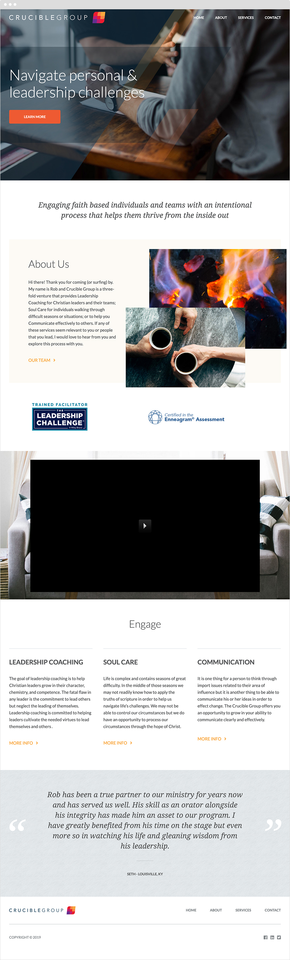 The Crucible Group Homepage Design