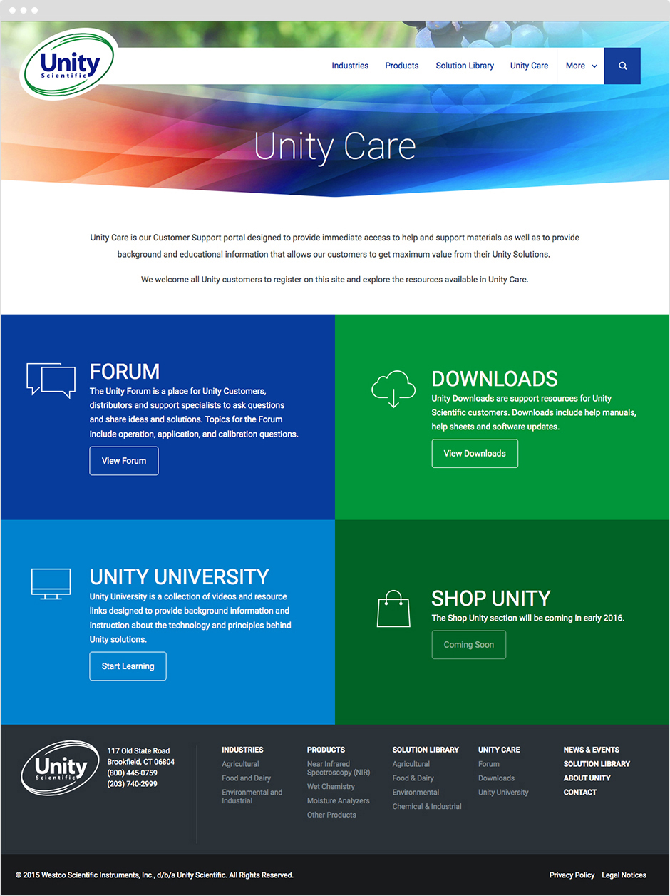 Custom Web Design for Unity Scientific